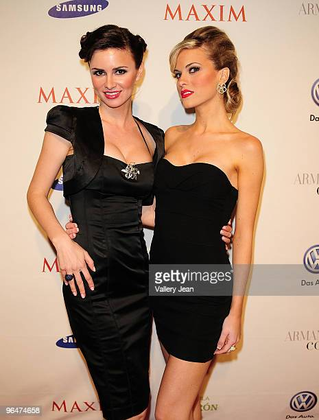 April Rose Maxim Hometown Hottie 2008 and Kristin Gustafson Hometown Hottie 2009 attend The Maxim Party 2010 at The Raleigh on February 6 2010 in...