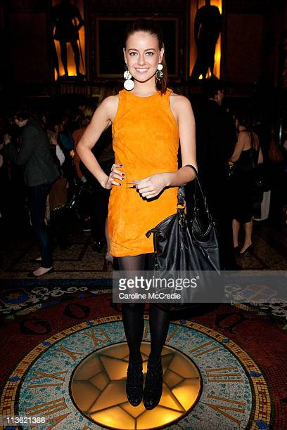 April Rose Pengilly arrives ahead of the Camilla and Marc catwalk show during Rosemount Australian Fashion Week Spring/Summer 2011/12 at the State...