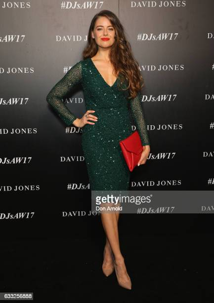 April Rose Pengilly arrives ahead of the David Jones Autumn Winter 2017 Collections Launch at St Mary's Cathedral Precinct on February 1 2017 in...