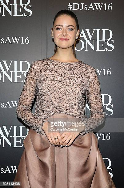 April Rose Pengilly arrives ahead of the David Jones Autumn/Winter 2016 Fashion Launch at David Jones Elizabeth Street Store on February 3 2016 in...