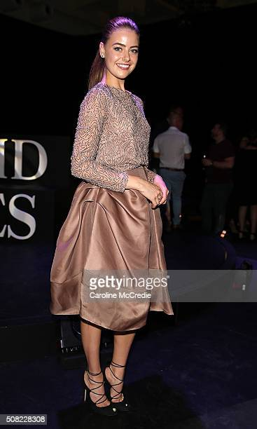 April Rose Pengilly poses at the David Jones Autumn/Winter 2016 Fashion Launch at David Jones Elizabeth Street Store on February 3 2016 in Sydney...