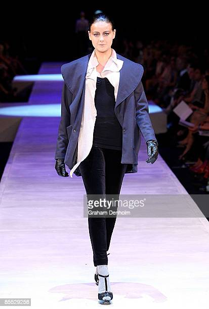 April Rose Pengilly showcases a design on the catwalk by Kuwaii during the Independent Runway presented by Network Ten during L'Oreal Melbourne...