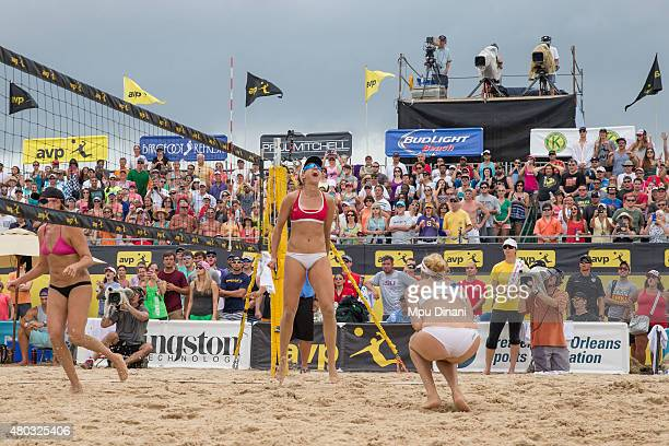 April Ross and Kerri WalshJennings celebrate their victory against Jennifer Kessy and Emily Day during the Women's Final at the AVP New Orleans Open...