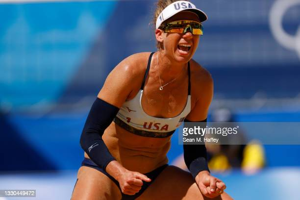 April Ross of Team United States reacts after the play against Team China during the Women's Preliminary - Pool B on day two of the Tokyo 2020...