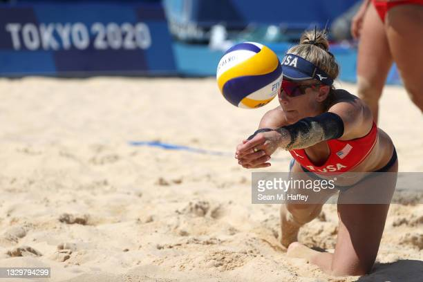 April Ross of Team USA Women's Beach Volleyball playsa shot during practice ahead of the Tokyo 2020 Olympic Games on July 21, 2021 in Tokyo, Japan.
