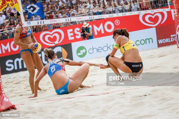 April Ross of the United States and Kira Walkenhorst of Germany seen during Day 9 of the FIVB Beach Volleyball World Championships 2017 on August 5...