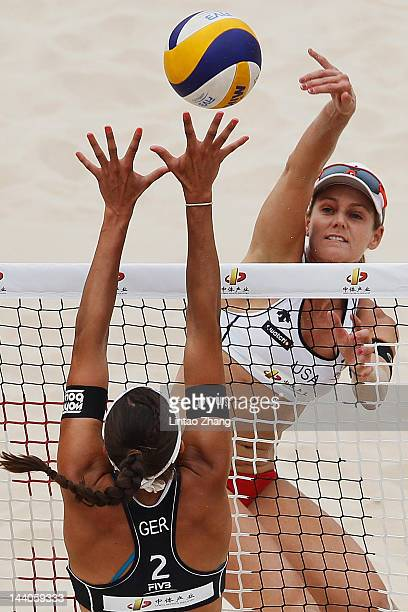 April Ross of the United States in action during the 2012 Swatch FIVB World Tour Beijing Grand Slam pool E match with Jennifer Kessy against Katrin...