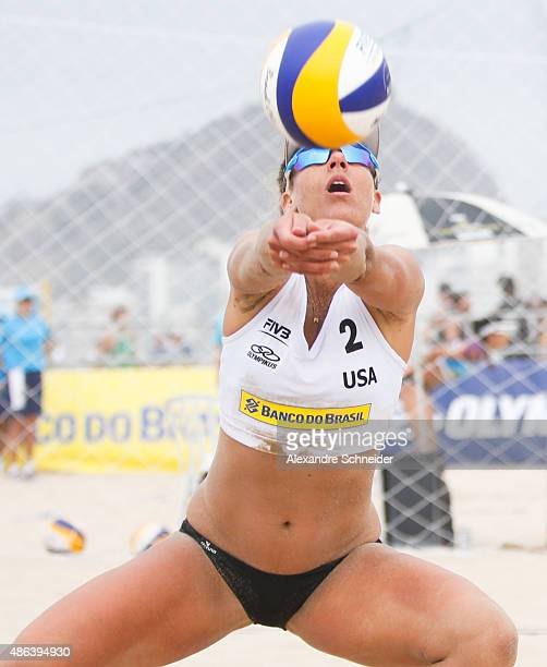 April Ross of the United States in action during the main draw match against Italy at Copacabana beach during day two of the FIVB Beach Volleyball...