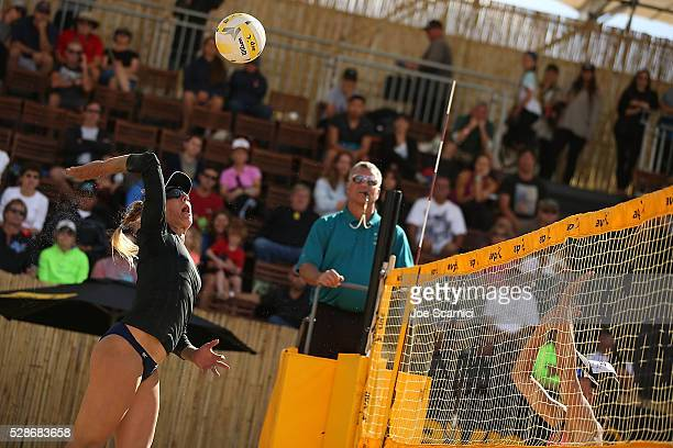 April Ross sends the ball over the net against Christal Engle and Jessica Stubinski at the AVP Huntington Beach Open on May 06 2016 in Huntington...