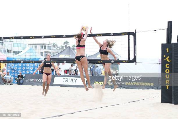 April Ross sends the ball past Annika Van Gunst during their round of 32 match at the AVP Manhattan Beach Open on August 17 2018 in Manhattan Beach...