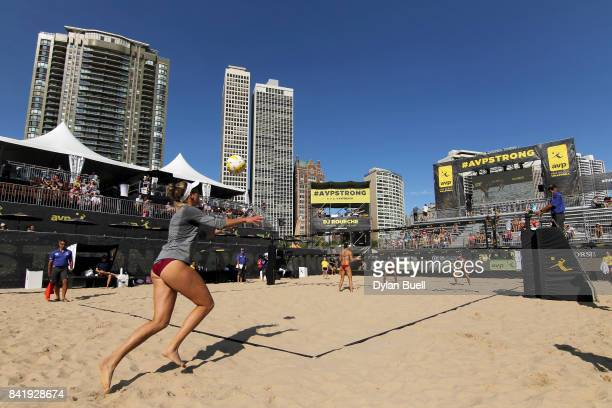 April Ross serves the ball during her match against Angela Bensend and Geena Urango at the AVP Championships in Chicago Day 3 on September 2 2017 in...