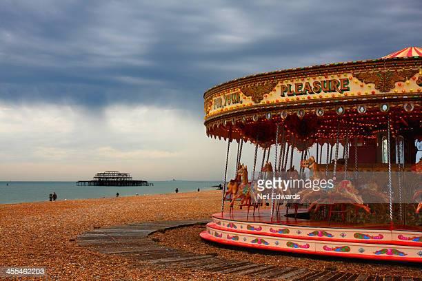 April showers, atmospheric Brighton beach carousel shot.