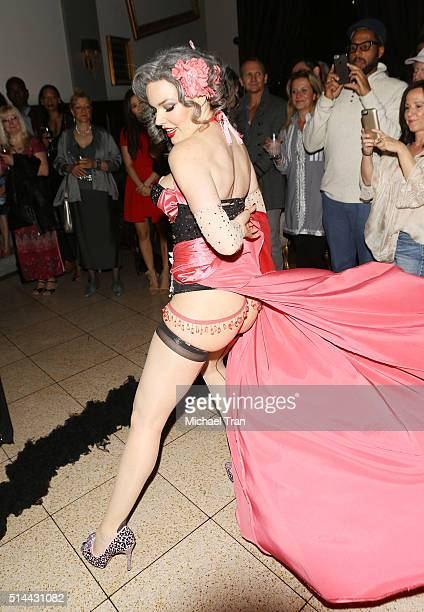 April Showers performs at the Boobs Books and Burlesque benefiting Dr Susan Love Research Foundation held at The Culver Hotel on March 8 2016 in...