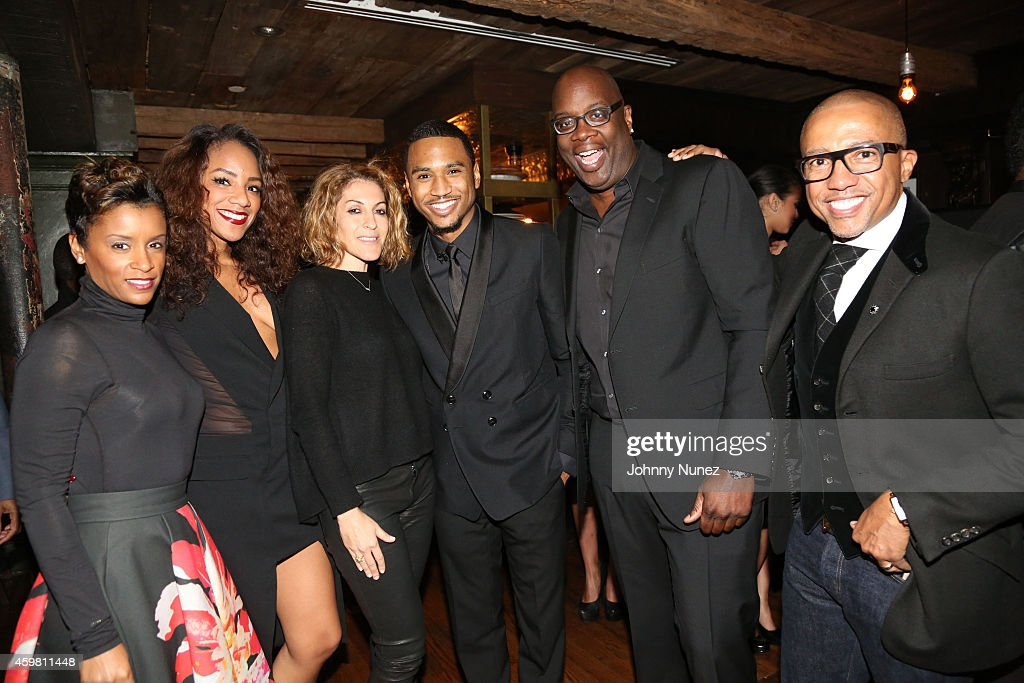 April Tucker, Roe Williams, Julie Greenwald, Trey Songz, Michael Kyser and Kevin Liles attend Trey Songz 30th Birthday Celebration at The Lion on December 1, 2014 in New York City.