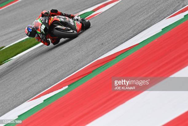 Aprilia Factory Racing´s British rider Bradley Smith races during the first training of the Moto GP Austrian Grand Prix at the Red Bull Ring circuit...