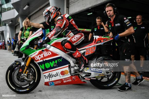 Aprilia Gresini Racing Team's British rider Sam Lowes leaves the pit lane during the first practice session of the Malaysia MotoGP at the Sepang...