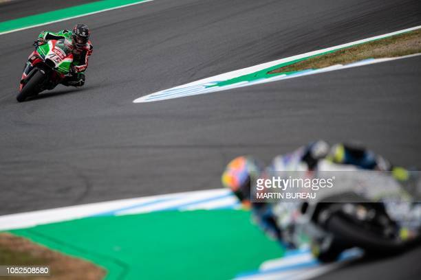 TOPSHOT Aprilia Racing Team Gresini British rider Scott Redding participates in the second practice session ahead of the MotoGP Japanese Grand Prix...
