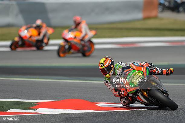 Aprilia Racing Team Gresini MotoGP's Spanish rider Alvaro Bautista rides in the chicane included in the racetrack due to yesterday Spanish rider Luis...