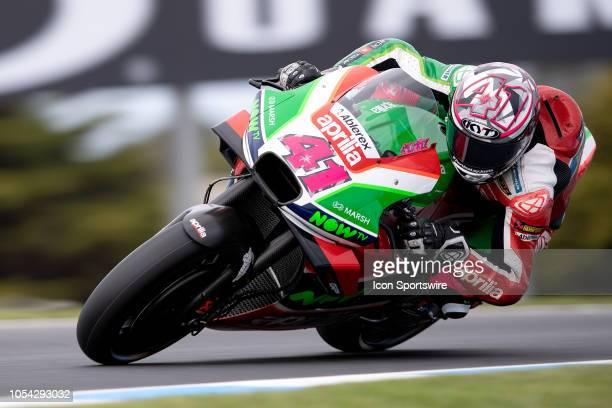 Aprilia Racing Team Gresini rider Aleix Espargaro in qualifying during The 2018 Australian MotoGP at The Phillip Island Circuit in Victoria Australia...
