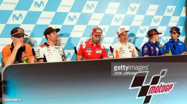 Aprilia Racing Team Gresini's Spanish rider Aleix Espargaro LCR Honda's British rider Cal Crutchlow Ducati Team's Italian rider Andrea Dovizioso...