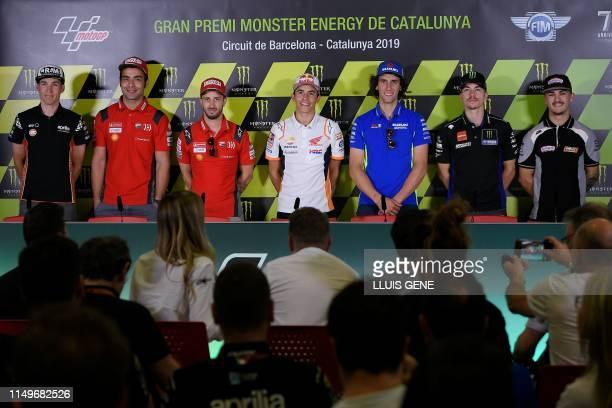 Aprilia Racing Team's Spanish rider Aleix Espargaro, Mission Winnow Ducati's Italian rider Danilo Petrucci, Mission Winnow Ducati's Italian rider...