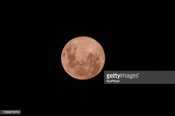 April's full moon also known as the pink moon is the closest of the year in Buenos Aires Argentina on April 7 2020