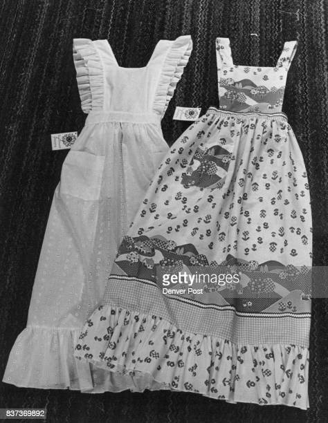 Aprons Pretty Enough For A Hoedown The designs from Beverly Lerner's Lakewood basement include left a beruffled white eyelet apron and one with a...