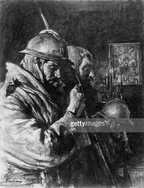 D'après un dessin de Vladimir Betzitch La prière des soldats serbes lors de la Première Guerre Mondiale en 1917 Serbie