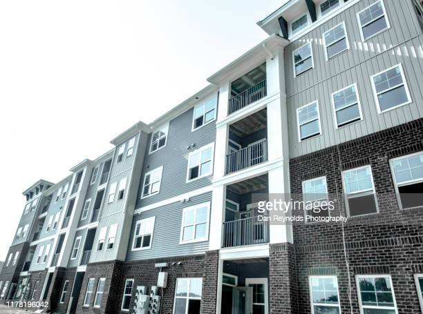 aprtment facade hdr - council flat stock pictures, royalty-free photos & images