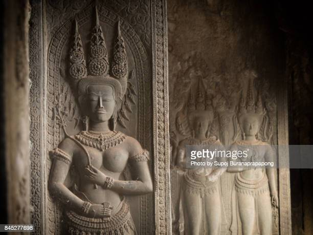 apsara art and craft of khmer culture at angkor wat,siem reap,cambodia - khmer art stock photos and pictures