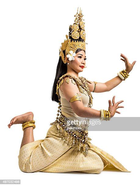 apsara dancer of angkor wat isolated on white background - apsara stock photos and pictures