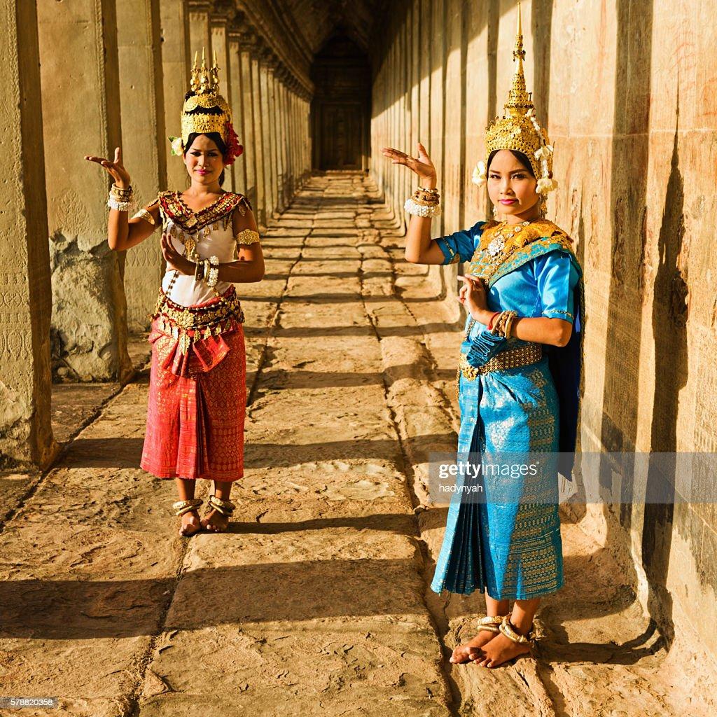 Apsara Dancers at Angkor Wat during sunset, Cambodia : Stock Photo