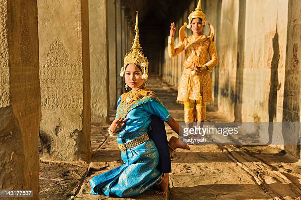 apsara dancers at angkor wat - cambodian culture stock photos and pictures