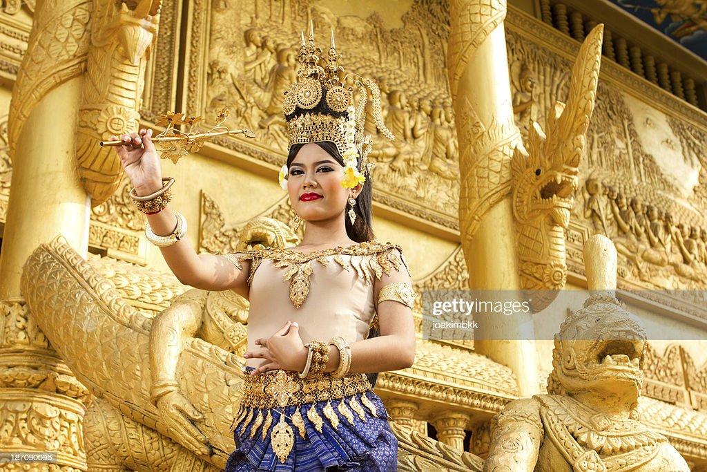 Apsara female dancer in golden temple : Stock Photo