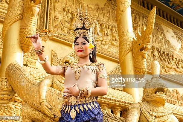 apsara female dancer in golden temple - khmer art stock photos and pictures