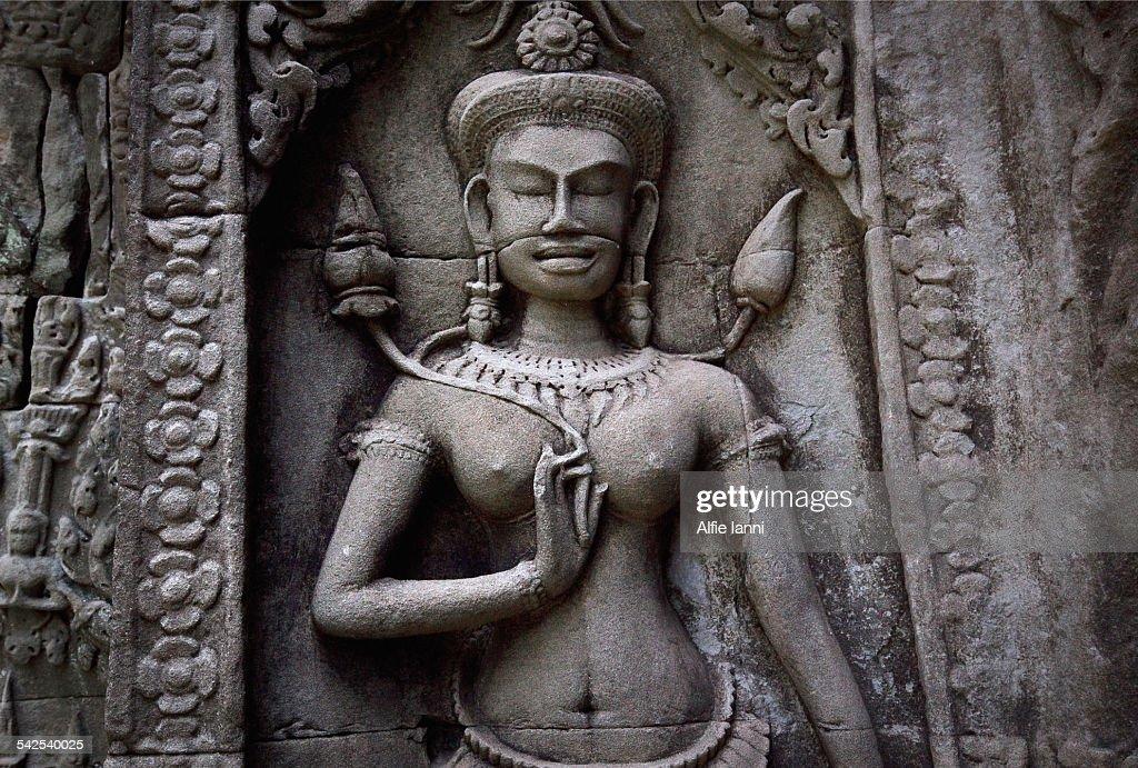 Apsara Relief at Angkor Wat : Stock Photo