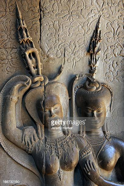 Apsaras carved into the corridor walls at Angkor Wat's main temple complex Angkor Wat is the largest Hindu temple complex and the largest religious...