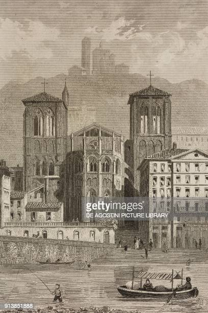 Apse of Lyon Cathedral France engraving by Lemaitre from France deuxieme partie L'Univers pittoresque published by Firmin Didot Freres Paris 1845