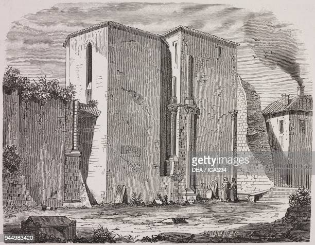 Apse of SaintGilles Abbey Church SaintGilles du Gard France engraving by Bescherer from Architecture romane du midi de la France Tome 1 by Henri...