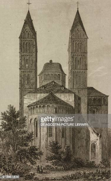 Apse of Speyer Cathedral Germany engraving by Lemaitre from Etats de la Confederation Germanique by Le Bas L'Univers pittoresque published by Firmin...