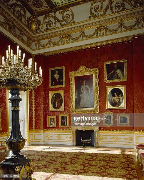 Apsley House London c19902010 View of the North wall and fireplace in the Waterloo Gallery with one of the Siberian porphyry candelabra to the left...