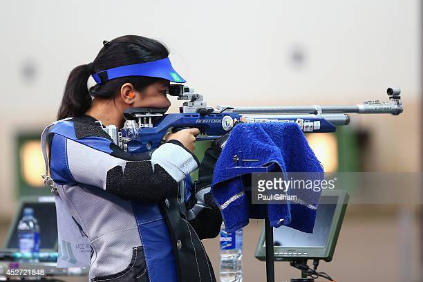 Apurvi Chandela of India competes in the Women's 10m Air Rifle Shooting on her way to winning a Gold Medal at Barry Buddon Shooting Centre during day...