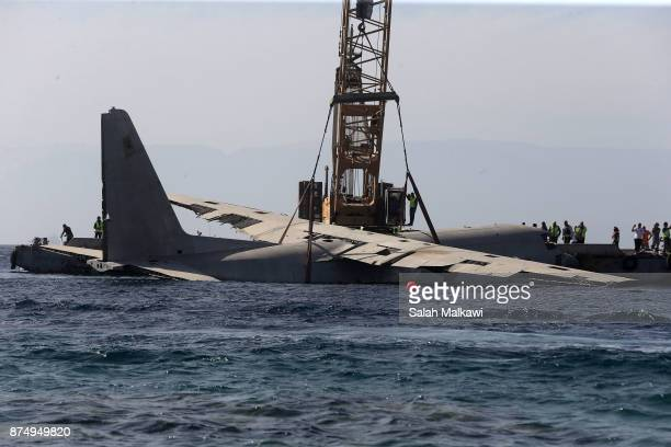 Aqaba authorities in Jordan sink the body of a military transport C130 Hercules plane which is out of service and was donated by the Royal Jordanian...
