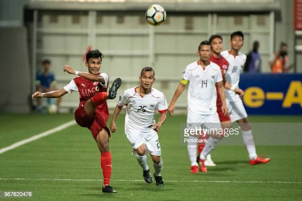 Aqhari Abdullah of Home United clears the ball during the AFC Cup Zonal Semi final between Home United and Persija Jakarta at Jalan Besar Stadium on...