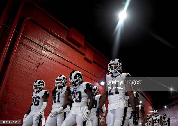 Aqib Talib Nickell RobeyColeman Marqui Christian and Dominique Hatfield of the Los Angeles Rams head to the field before a preseason game against the...