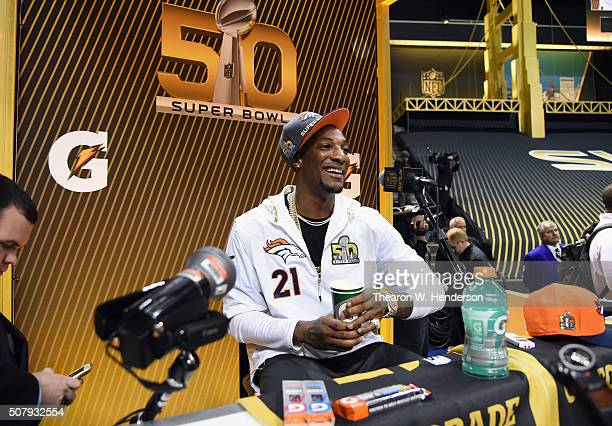Aqib Talib of the Denver Broncos addresses the media at Super Bowl Opening Night Fueled by Gatorade at SAP Center on February 1 2016 in San Jose...