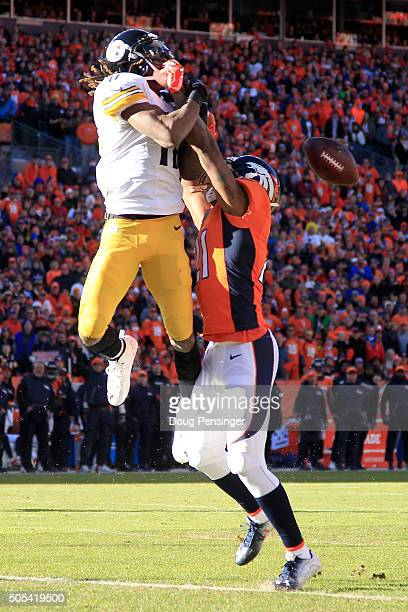Aqib Talib of the Denver Broncos breaks up a fourth down pass intended for Markus Wheaton of the Pittsburgh Steelers in the first quarter during the...
