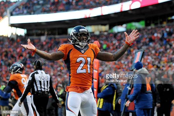 Aqib Talib of the Denver Broncos celebrates a defensive stop against the Pittsburgh Steelers during the AFC Divisional Playoff Game at Sports...