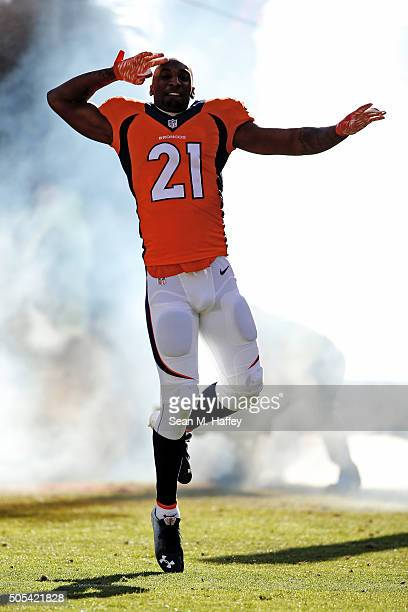 Aqib Talib of the Denver Broncos dances as he is introduced before a game against the Denver Broncos during the AFC Divisional Playoff Game at Sports...