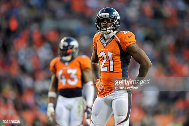 Aqib Talib of the Denver Broncos looks on during the AFC Divisional Playoff Game against the Pittsburgh Steelers at Sports Authority Field at Mile...